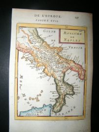 Mallet 1683 Antique Hand Col Map. Royaume de Naples, Italy Sicily